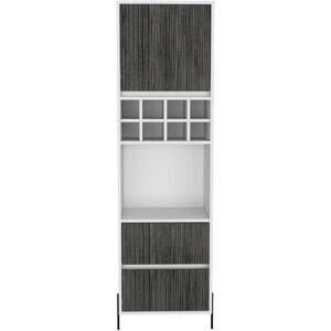 Meuble bar haut bois mélaminé effet chêne blanc et gris carbone 1 porte 2 tiroirs 1 niche 8 clayettes à bouteilles - Publicité