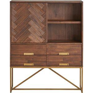 Meuble de rangement acacia massif brun 1 porte coulissante 4 tiroirs 2 niches cadre vintage métal doré - Publicité