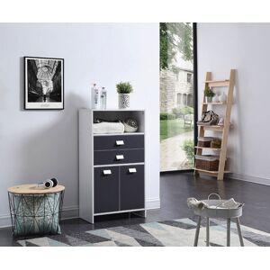 Meuble de salle de bain blanc et gris 2 portes 2 tiroirs 1 niche - Publicité