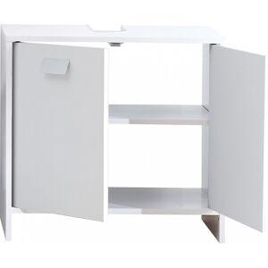 Meuble sous vasque blanc 2 portes 1 étagère - Publicité