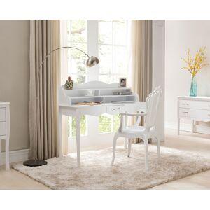 Secrétaire blanc pieds galbés 1 tiroir 2 étagères - Publicité