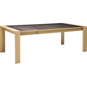 Table rectangulaire céramique chêne naturel 2 allonges L180 - Publicité
