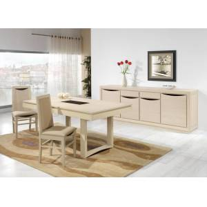 Table rectangulaire chêne blanc pierre L200 2 allonges papillons - Publicité