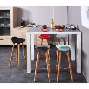 Tabouret de bar moderne assise coque ABS bleu pieds bois - Publicité