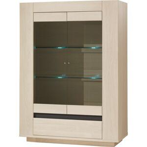 Vitrine chêne blanchi 2 portes vitrées 1 tiroir 2 étagères verre décor verre anthracite - Publicité