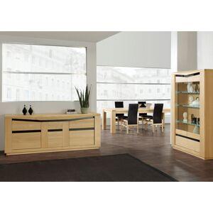 Vitrine chêne clair 2 portes vitrées 1 tiroir 3 étagères verre - Publicité