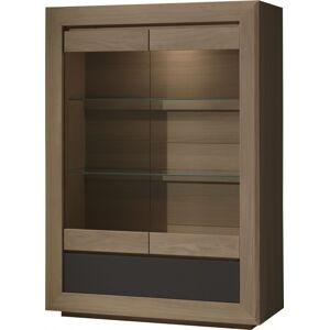 Vitrine chêne taupe 2 portes vitrées 1 tiroir 2 étagères verre décor verre anthracite - Publicité