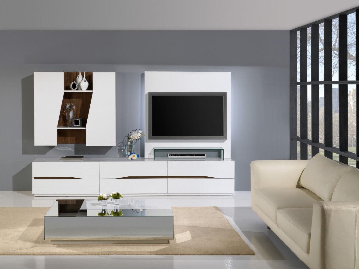 Composition design meuble TV laque et noyer 4 tiroirs