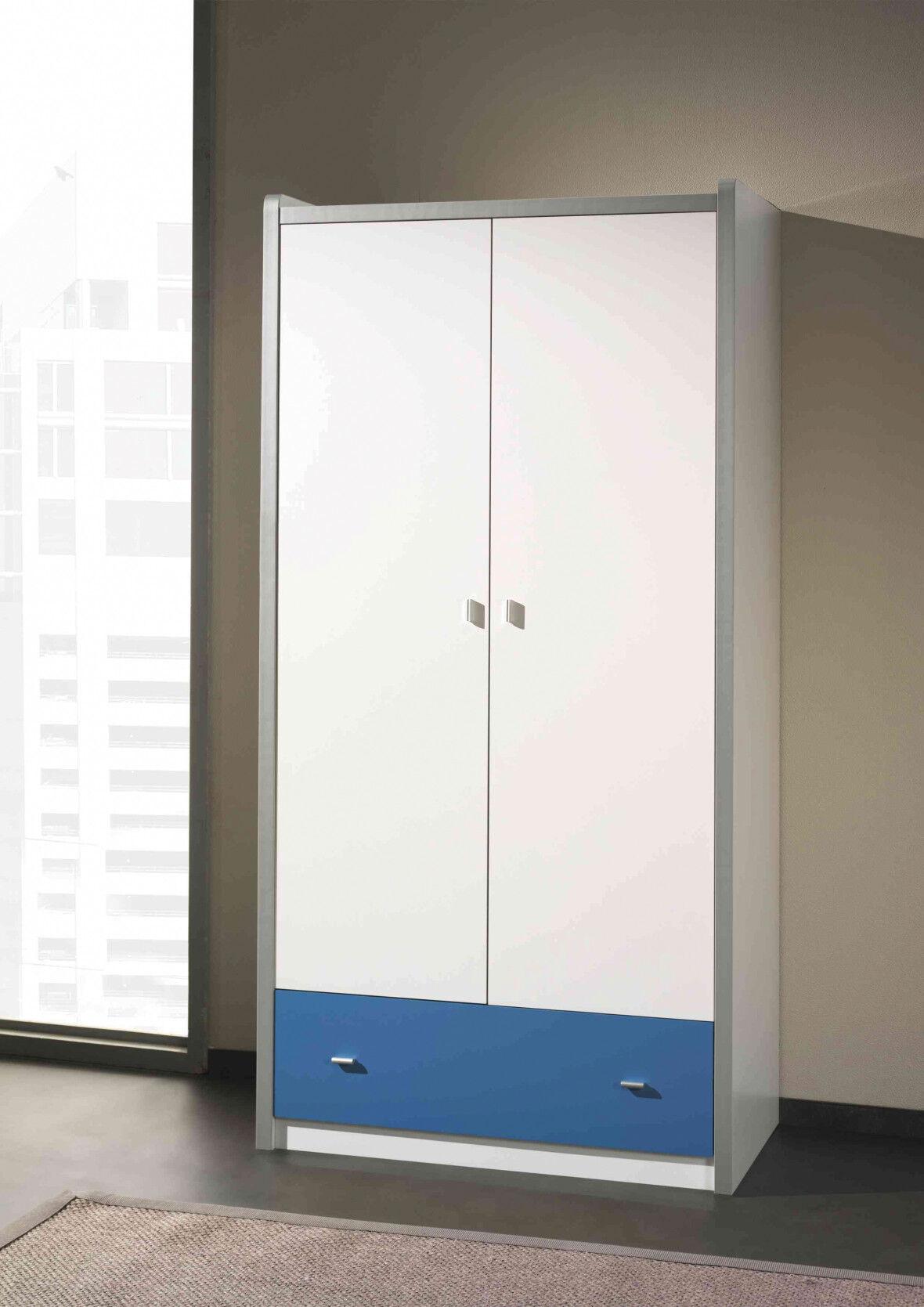 Armoire enfant laqué blanc et bleu 2 portes 1 tiroir