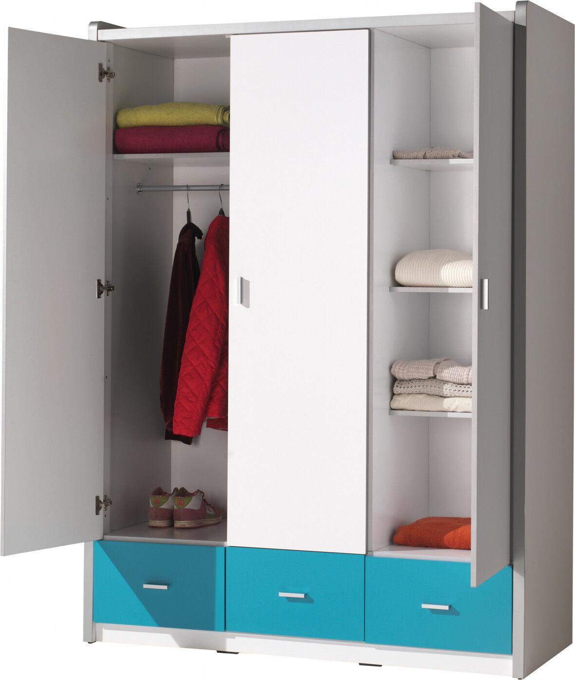 Armoire enfant laqué blanc et bleu turquoise 3 portes 3 tiroirs