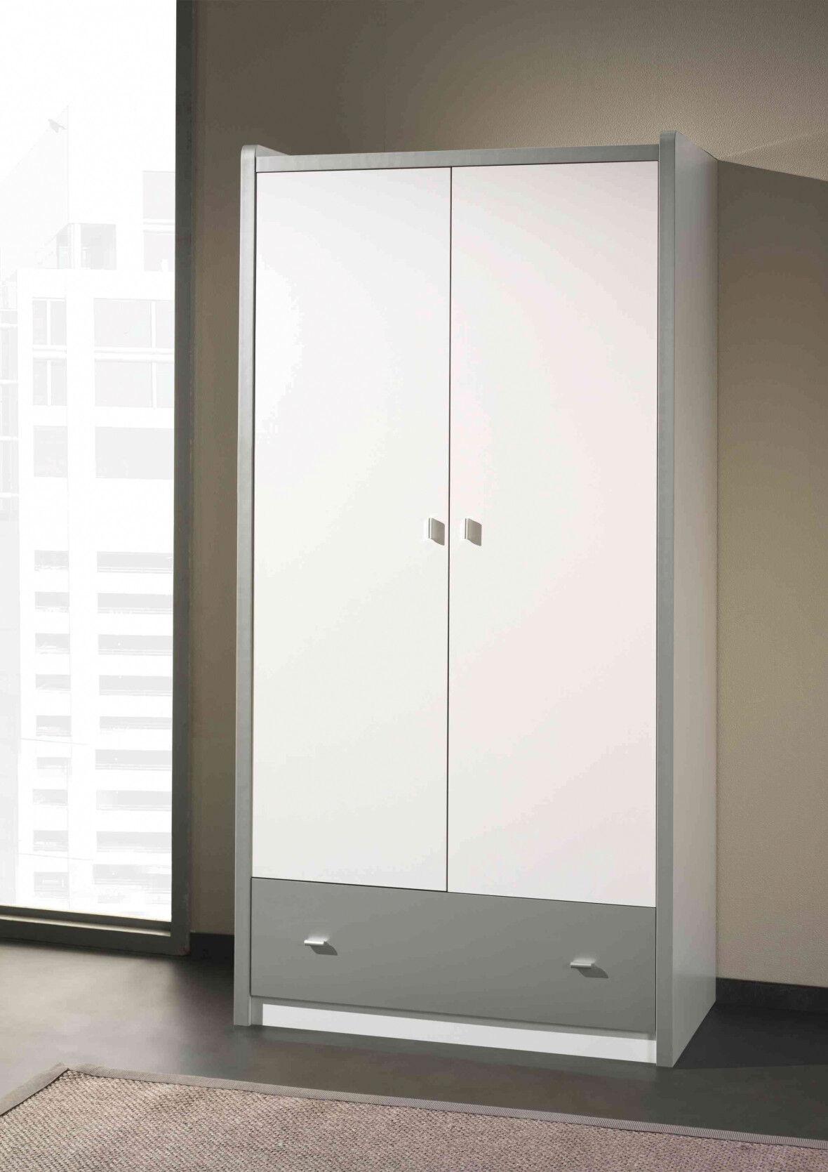 Armoire enfant laqué blanc et gris 2 portes 1 tiroir