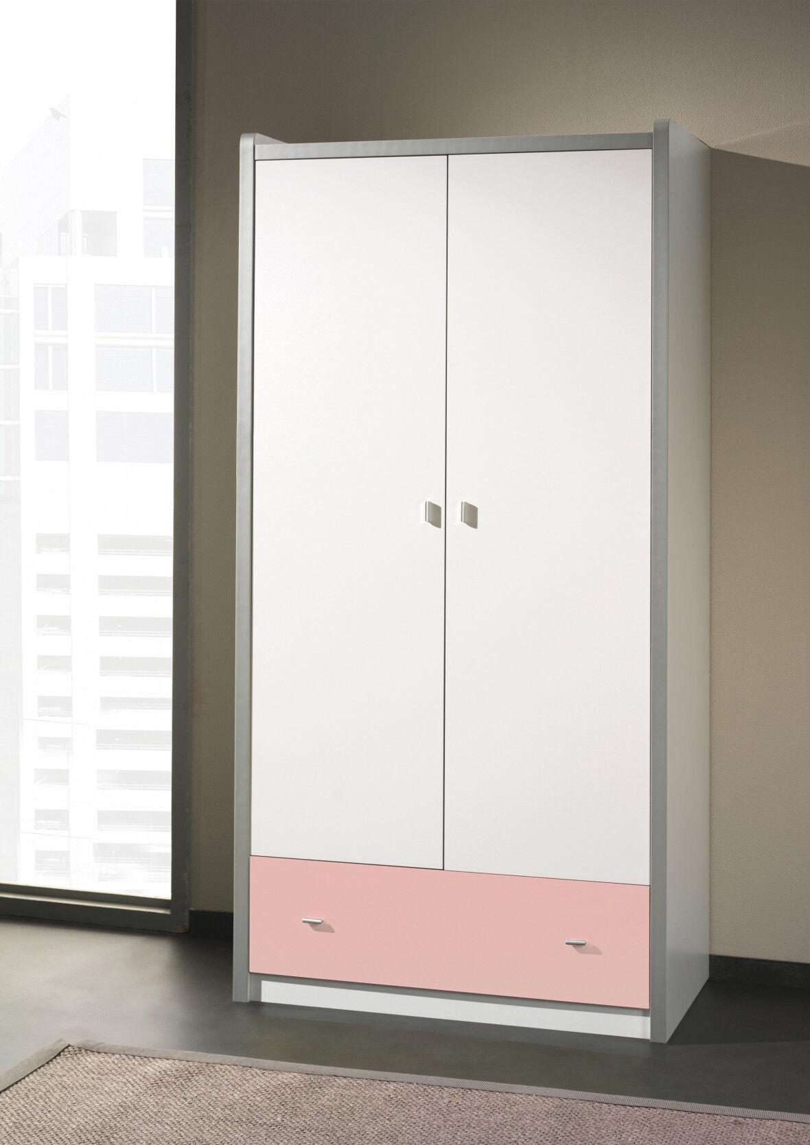 Armoire enfant laqué blanc et rose clair 2 portes 1 tiroir