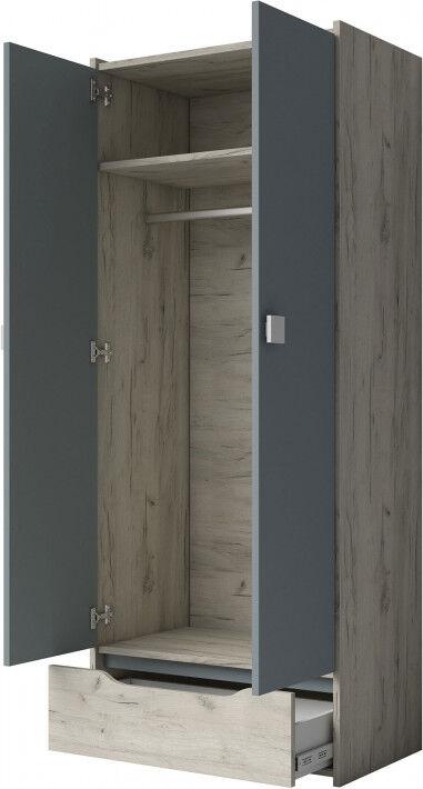 Armoire enfant mélaminé frêne blanc et gris 2 portes 1 tiroir