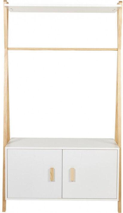 Armoire enfant pin blanc 2 portes 1 étagère