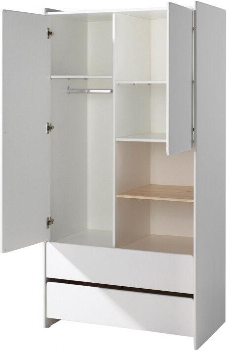 Armoire enfant pin massif blanc 2 portes 2 tiroirs 2 niches - KIDDY
