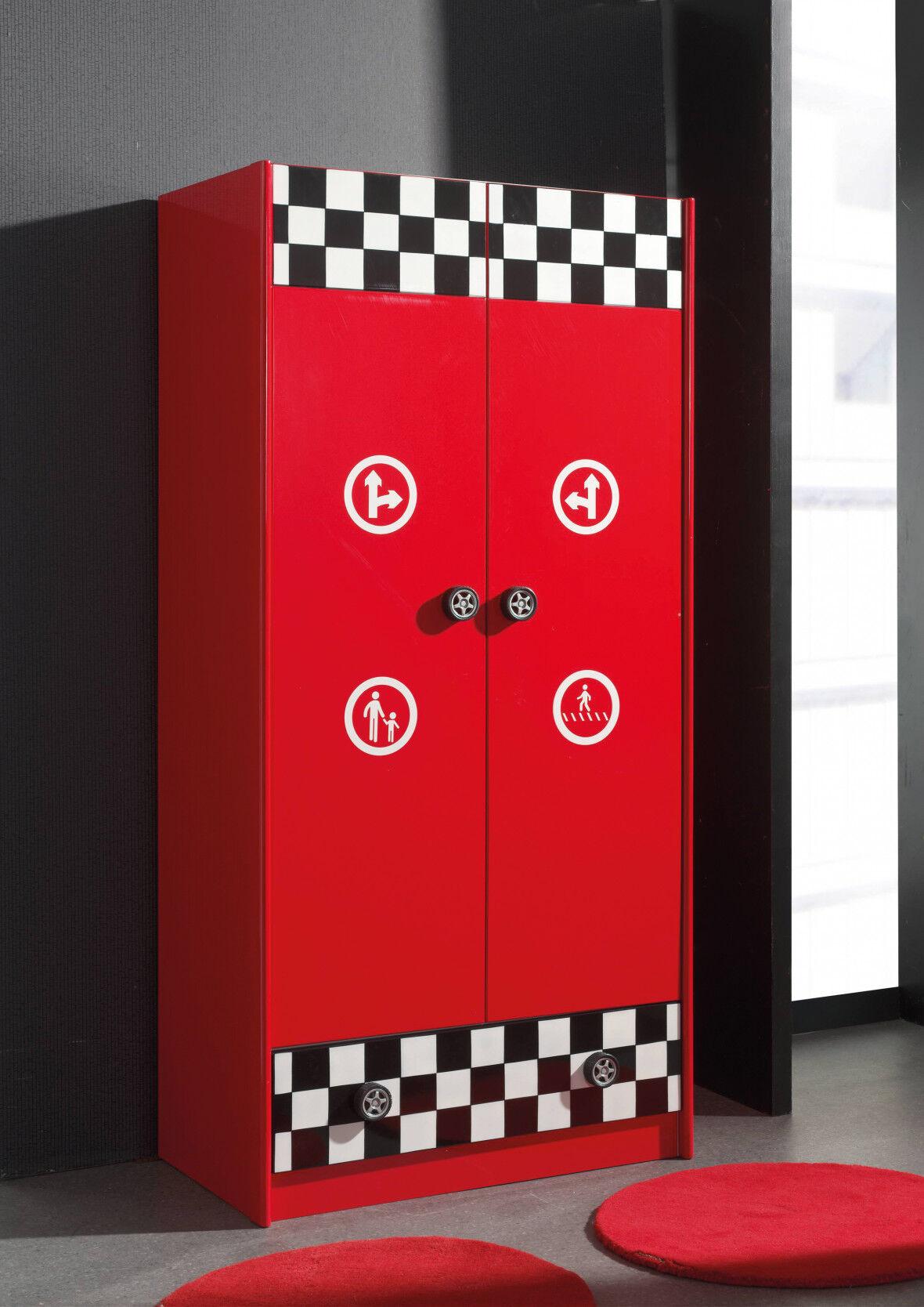 Armoire enfant pompe essence rouge 2 portes 1 tiroir