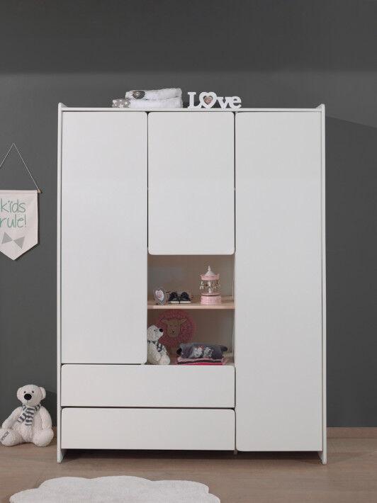 Armoire pin blanc 3 portes 2 tiroirs - KIDDY