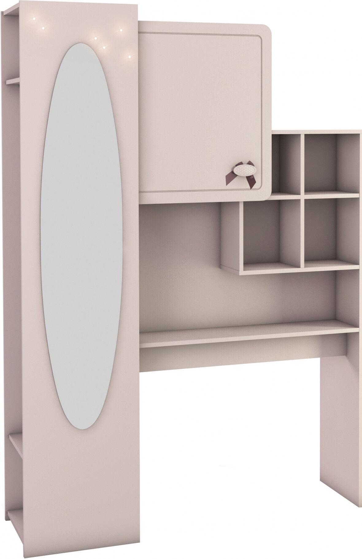 Armoire pont de lit enfant rose avec miroir 1 porte 5 niches 2 étagères