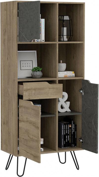 Bibliothèque bois mélaminé effet pin et pierre 3 portes 1 tiroir 3 niches