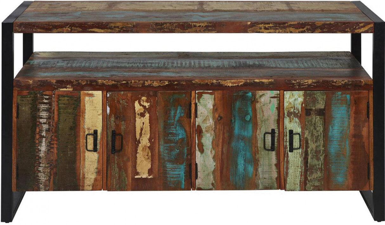 Buffet moderne bois recyclé indien 4 portes pieds métal noir