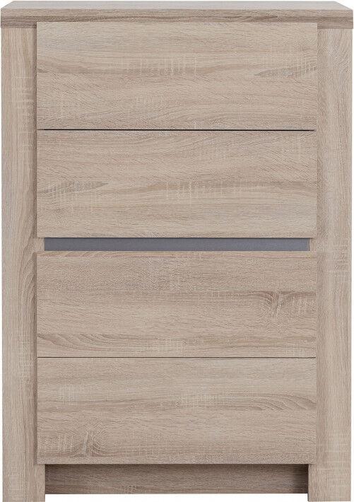 Chiffonnier ton chêne 4 tiroirs bande alu décorative