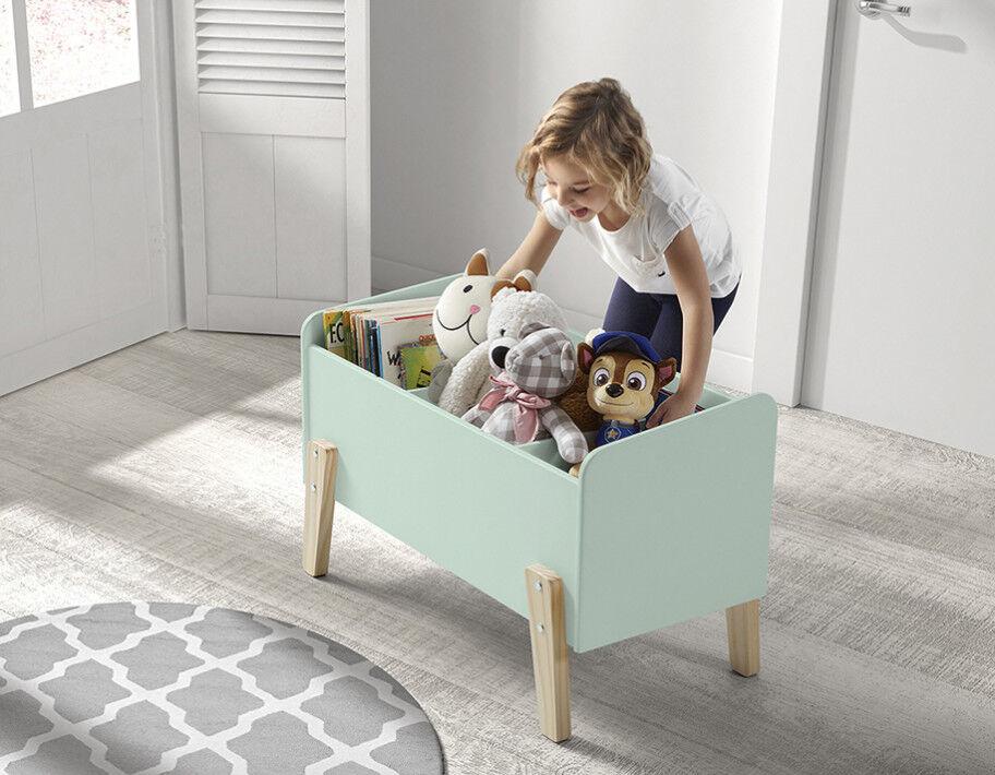 Coffre à jouet vert menthe 2 étagères verticale – KIDDY