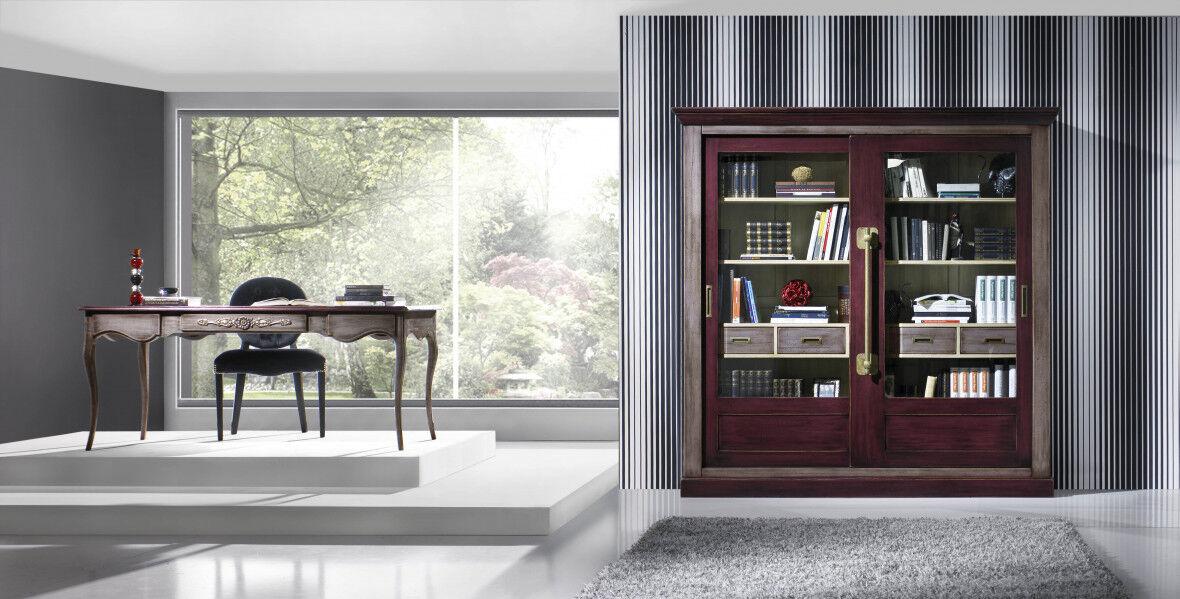 Grande bibliothèque chêne massif gris et prune 2 portes coulissantes vitrées
