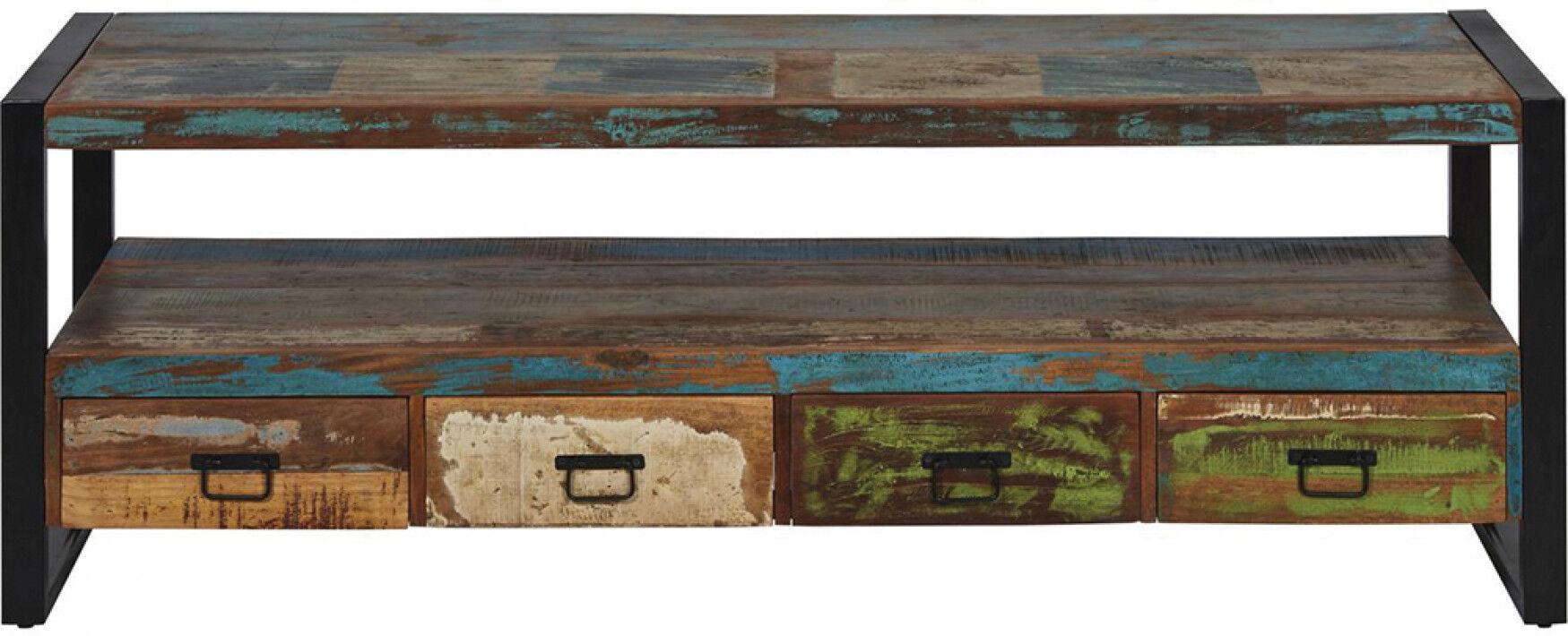 Meuble TV bois recyclé indien 4 tiroirs 1 niche pieds métal noir