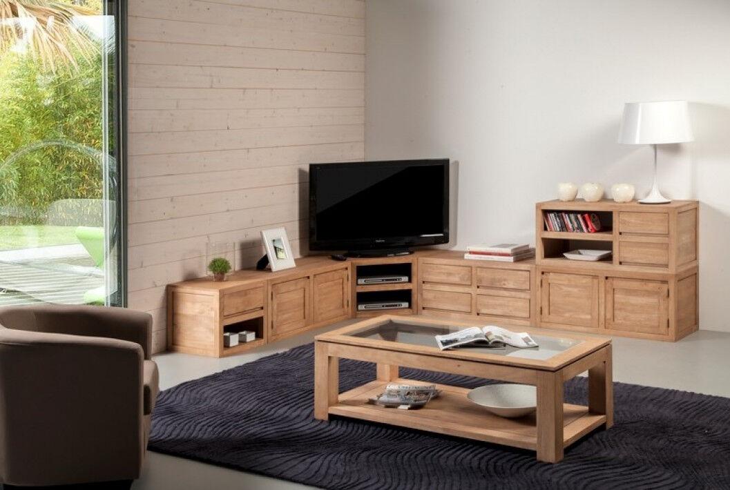 Meuble TV d'angle hévéa massif teinté chêne 2 niches