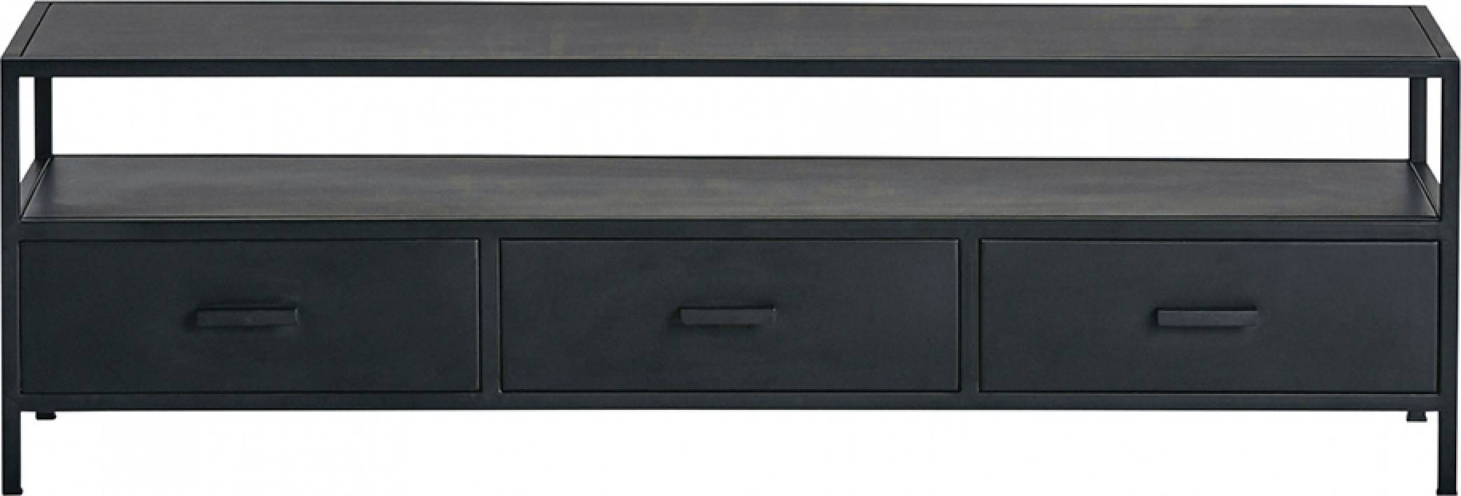 Meuble TV industriel métal noir 3 tiroirs 1 niche