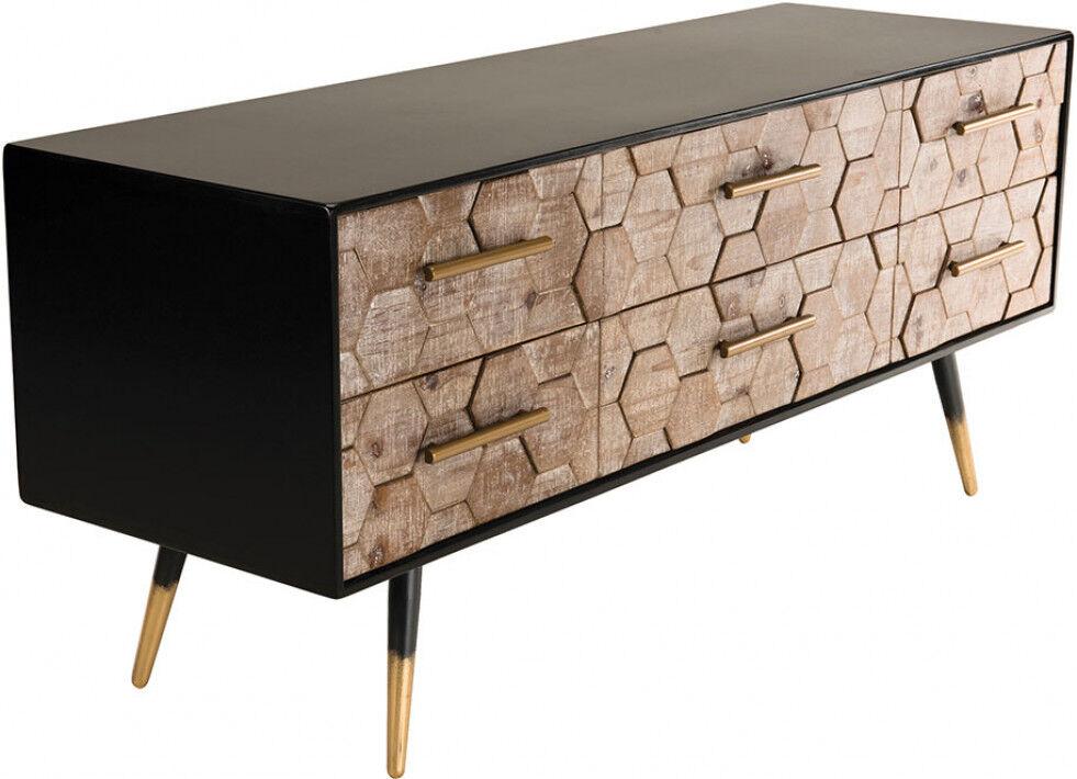 Banc TV scandinave noir sapin marqueté 6 tiroirs pieds métal doré – DORRIS