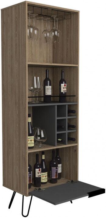 Meuble bar bois mélaminé effet chêne et gris 2 portes 3 niches 1 porte-verre 6 clayette à bouteilles