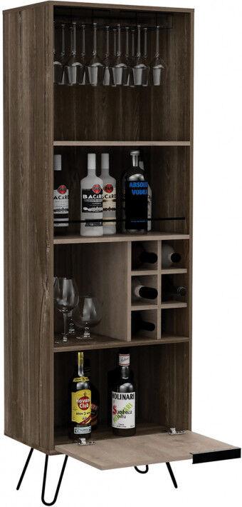 Meuble bar bois mélaminé effet chêne fumé et chêne gris 2 portes 3 niches 6 clayettes à bouteilles 1 porte-verre