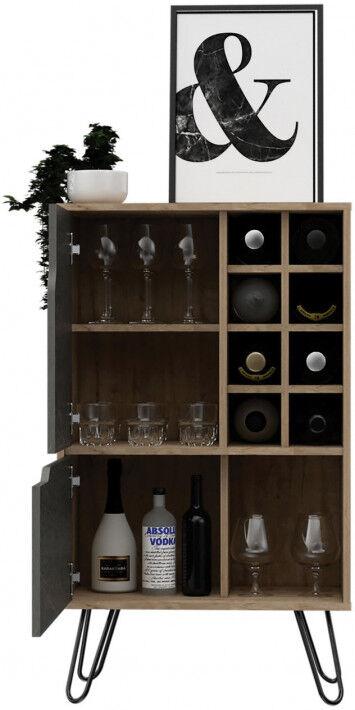 Meuble bar bois mélaminé effet pin et pierre 2 portes 8 clayettes à bouteilles