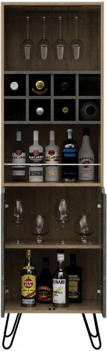 Meuble bar bois mélaminé effet pin et pierre 2 portes 8 clayettes à bouteilles 1 porte-verre