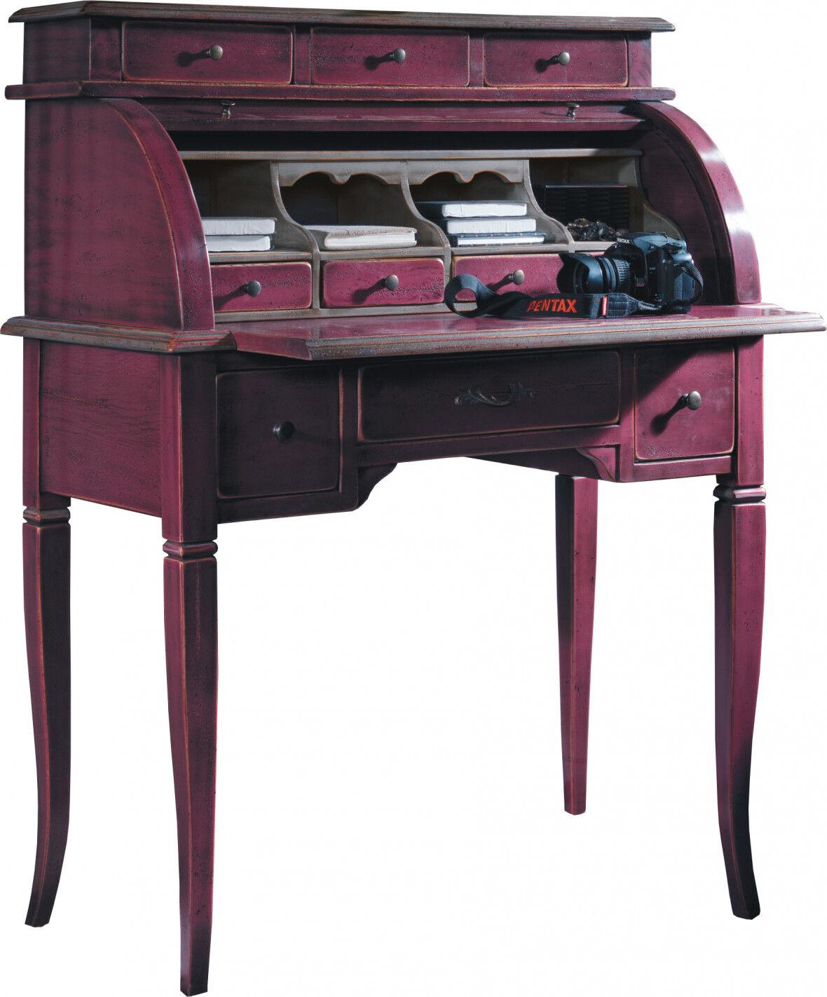 Secrétaire rideau coulissant prune 10 tiroirs