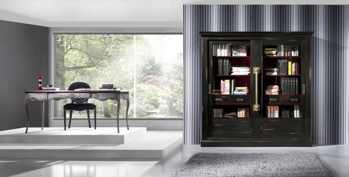 Grande bibliothèque chêne massif noir 2 portes coulissantes vitrées