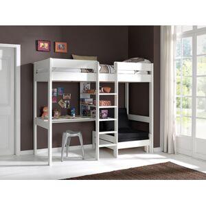 Lit mezzanine compact pin massif blanc 1 bureau 1 étagère - PINO - Publicité