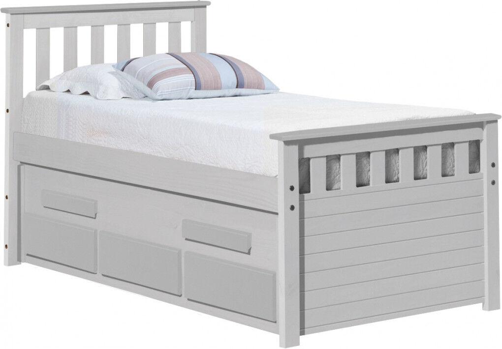 Lit capitaine enfant 90x190 3 tiroirs pin massif blanc BERGAMO
