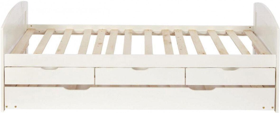 Lit enfant 90x190 pin blanc 3 tiroirs 1 lit gigogne