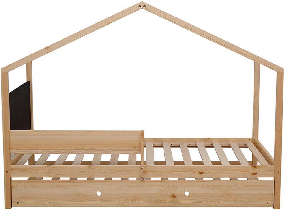 Lit enfant cabane pin massif 1 tiroir 1 tableau ardoise sommier inclus