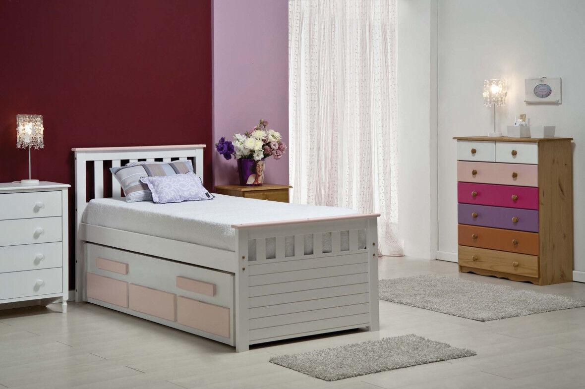 Lit gigogne enfant 90x190 pin massif blanc et rose 3 tiroirs Bergamo