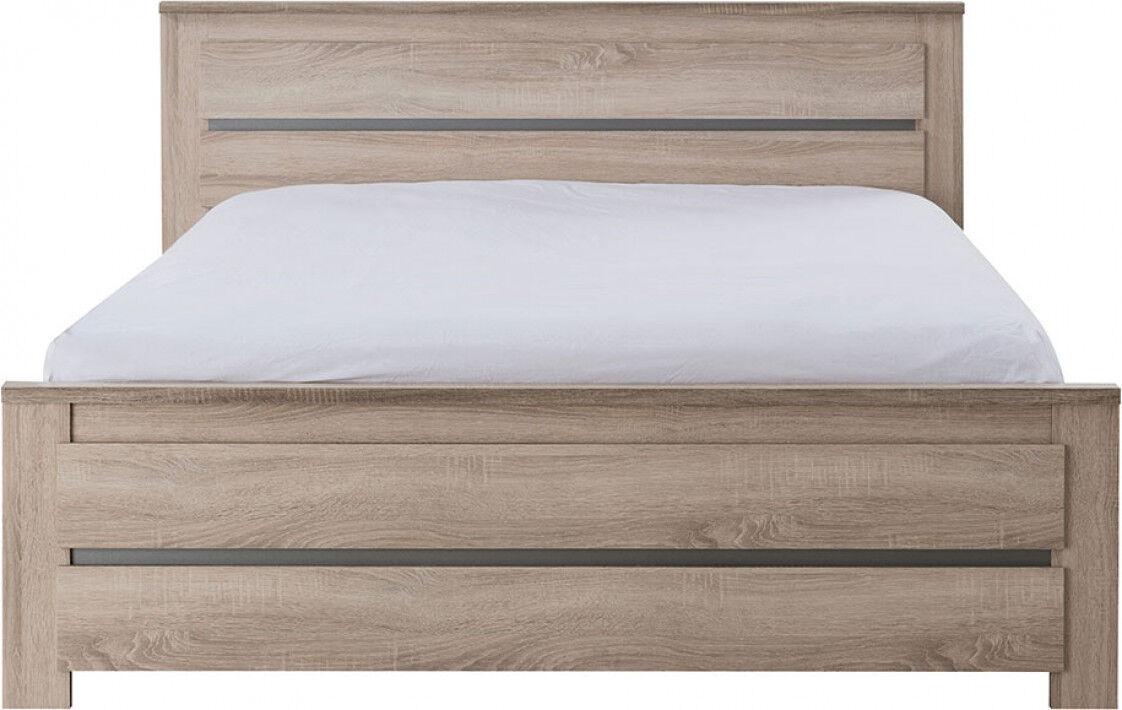 Lit ton chêne 160x200 bande alu décorative