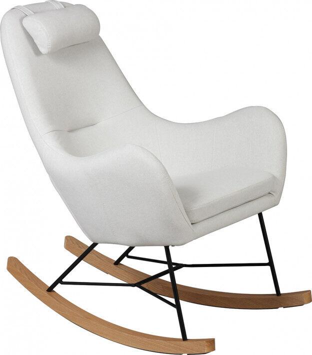 Rocking-chair design acier tapissé tissu beige