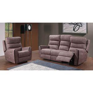 Canapé 3 places relax électrique gris éléphant ARTHUR - Publicité