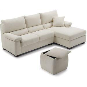 Canapé d'angle cuir crème BRIO - Publicité