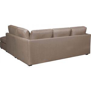 Canapé d'angle modulable tissu coton beige accoudoirs fins évasés - Publicité