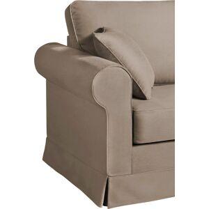 Canapé d'angle modulable tissu coton beige accoudoirs ronds - Publicité