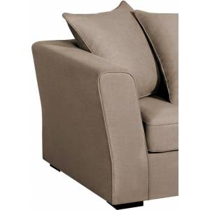 Canapé d'angle modulable tissu coton beige accoudoirs évasés - Publicité