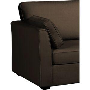 Canapé d'angle modulable tissu coton brun accoudoirs fins évasés - Publicité